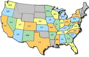 Map of lower 48 states where participants are located