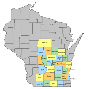 Study area of wisconsin based on county